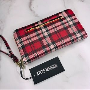 Steve Madden | Red Plaid Zip Around Wallet Clutch